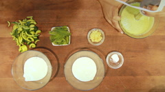 Yogurt soup in colors garlic and cucumber  Stock Footage