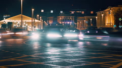 Night lights of city with traffic, time laps Stock Footage