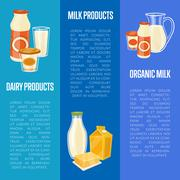 Organic dairy products vertical flyers Stock Illustration