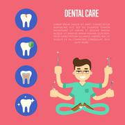 Dental care banner with male dentist Stock Illustration