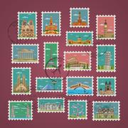 Stamps with famous architectural compositions Stock Illustration