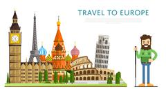 Travel to Europ banner with famous attractions Stock Illustration