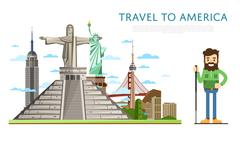 Travel to America banner with famous attractions Stock Illustration