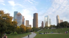 Buffalo Bayou Park with downtown Houston in the background Stock Footage