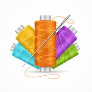 Thread Spool Set. Vector Stock Illustration