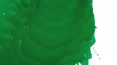 Green liquid flows and fills screen slow motion. tinted oil Stock Footage