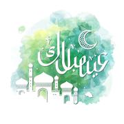 Eid Mubarak calligraphy green Stock Illustration