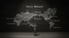 Businessman standing world map, Handwriting 'World network', communication. Stock Footage