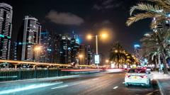 Night traffic  in the district Dubai Marina . Dubai Stock Footage
