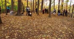 4K Spectacular autumn fall colors at Toronto Edwards gardens Stock Footage