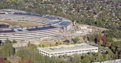 Aerial drone of Apple Campus under construction in Silicon Valley Cupertino Stock Footage