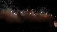 Moscow International Festival Circle of light. Pyrotechnic fireworks show on Stock Footage