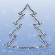Falling snow. Silver Sequins. Christmas tree. Stock Illustration