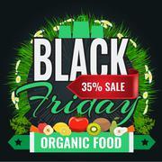 Black Friday sale inscription design banner template for organic food Stock Illustration