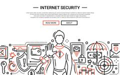 Internet Security - line design website banner Stock Illustration