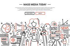 Mass Media Today - line design website header Stock Illustration