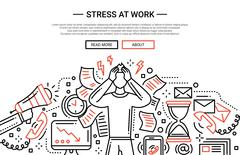 Stress at work - line flat design website banner Stock Illustration