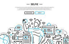 Selfie - line design website banner Piirros