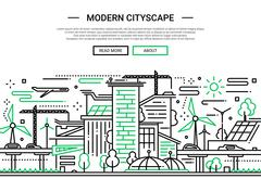 Modern Cityscape - line design website banner Stock Illustration