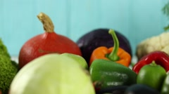 Composition with assorted raw organic vegetables Stock Footage
