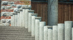 Small columns on each of the steps Stock Footage