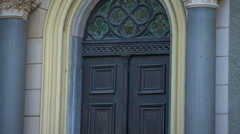 Big church doors with two Corinthian columns Stock Footage