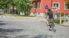 Cycling through the streets in Ljubljana Stock Footage