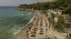 Resort in Turkey, beach and the coastline of the Aegean sea Stock Footage