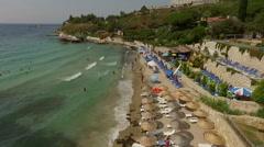 Beach and the coastline of the Aegean sea, tides Stock Footage