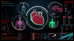 Scanning blood vessel, lymphatic, heart, circulatory system in digital display Stock Footage
