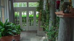 Beautiful hall with flowers at Plečnik House Stock Footage