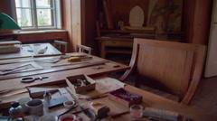 Room where Plečnik used to work and design Stock Footage