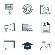 Set Of 9 Universal Editable Icons For School, Tourism And Statistics Topics.  Stock Illustration