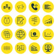 Set Of 16 Universal Editable Icons For School, Hr And SEO Topics. Includes Ic Stock Illustration