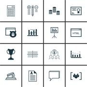 Set Of 16 Universal Editable Icons For Statistics, Hr And SEO Topics. Include Stock Illustration