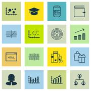 Set Of 16 Universal Editable Icons For Hr, Project Management And Human Resou Stock Illustration
