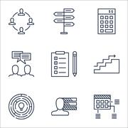 Set Of Project Management Icons On Investment, Reminder And Schedule Topics.  Stock Illustration
