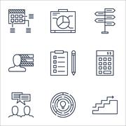 Set Of Project Management Icons On Discussion, Opportunity And Reminder Topic Stock Illustration