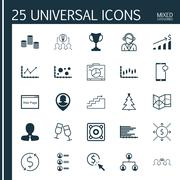Set Of 25 Universal Editable Icons. Can Be Used For Web, Mobile And App Desig Stock Illustration