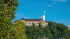 Beautiful view on the castle on top of the hill Stock Footage