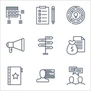 Set Of Project Management Icons On Announcement, Discussion And Report Topics Stock Illustration