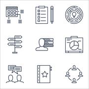 Set Of Project Management Icons On Warranty, Opportunity And Schedule Topics. Stock Illustration