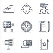 Set Of Project Management Icons On Discussion, Schedule And Collaboration Top Stock Illustration