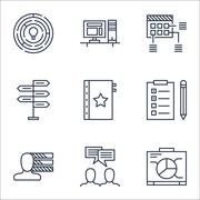 Set Of Project Management Icons On Opportunity, Schedule And Warranty Topics. Stock Illustration