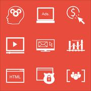 Set Of SEO Icons On Video Player, Keyword Optimisation And Security Topics. E Stock Illustration