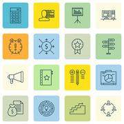 Set Of Project Management Icons On Presentation, Money And Growth Topics. Edi Stock Illustration