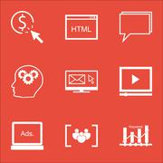 Set Of Advertising Icons On Coding, Questionnaire And Video Player Topics. Ed Stock Illustration