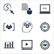 Set Of Marketing Icons On Report, Focus Group And PPC Topics. Editable Vector Stock Illustration