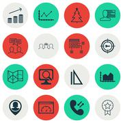 Set Of 16 Universal Editable Icons. Can Be Used For Web, Mobile And App Desig Piirros