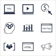 Set Of SEO Icons On Video Player, Media Campaign And Questionnaire Topics. Ed Stock Illustration